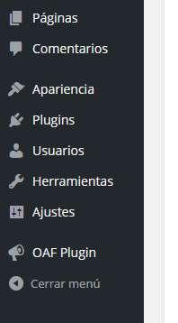 oaf plugin menu admin