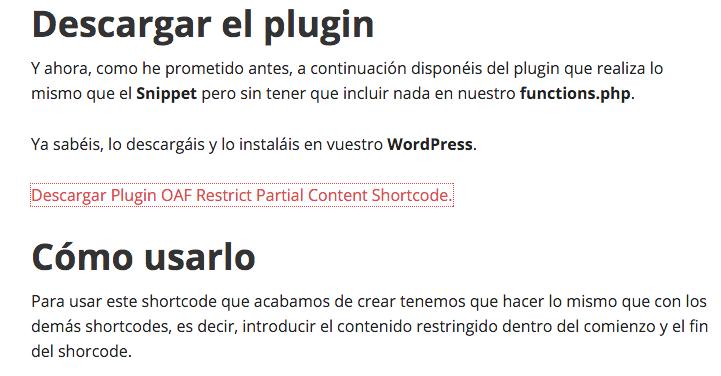 Plugin OAF Restrict Partial Content Shortcode