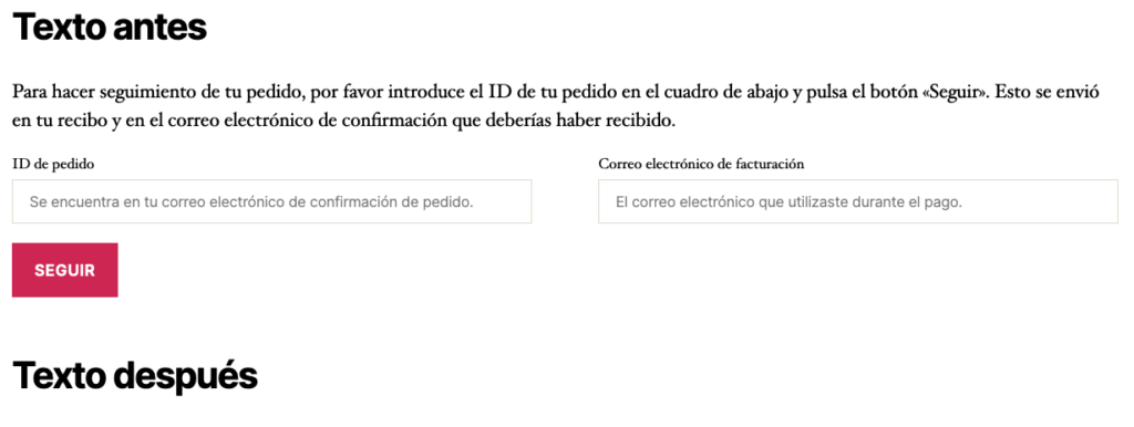 WooCommerce Shortcode - Seguimiento de pedidos [woocommerce_order_tracking]