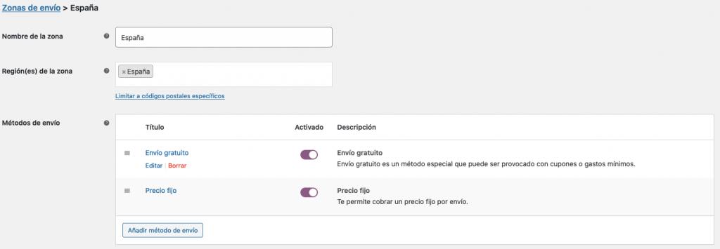 Ocultar métodos de envío si exites el envío gratis en WooCommerce