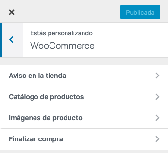 WooCommerce - Opciones personalizador WordPress