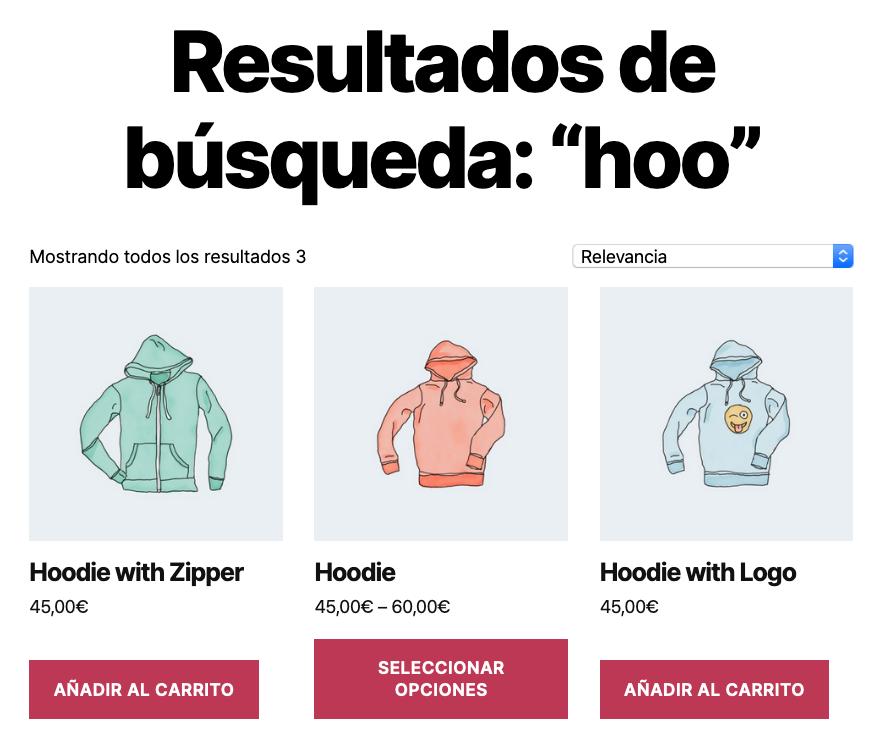 Bloque WooCommerce: Búsqueda de productos