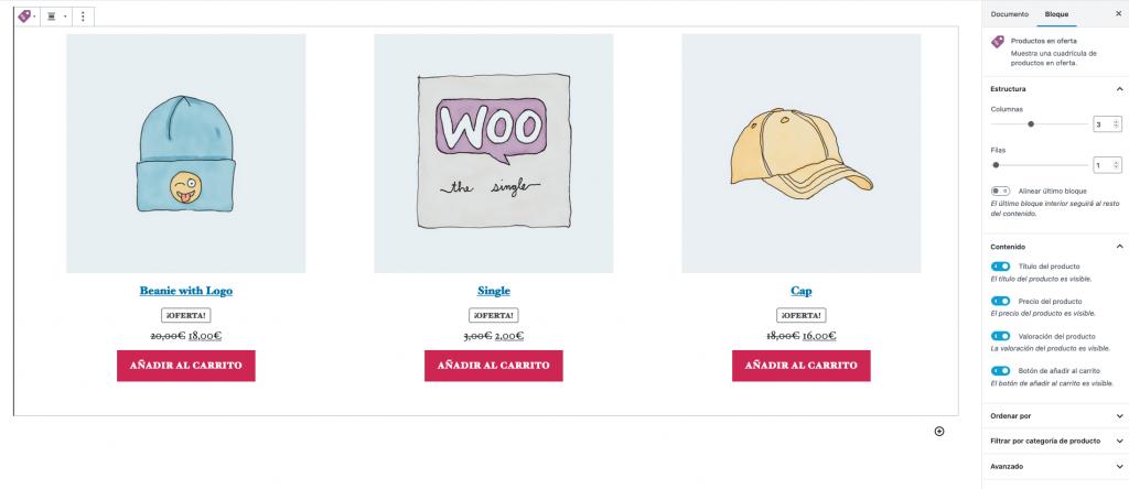 WooCommerce bloque productos en oferta