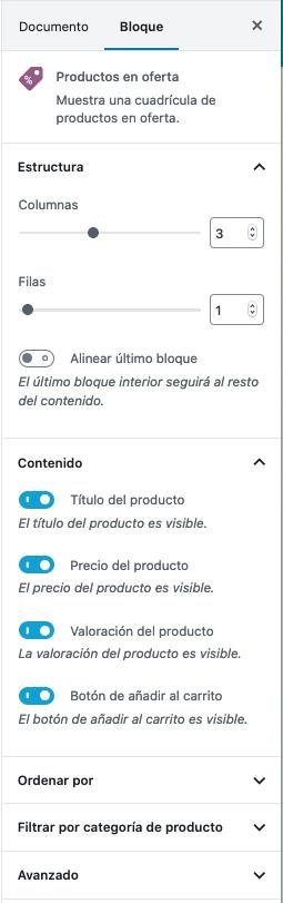 WooCommerce bloque productos en oferta opciones
