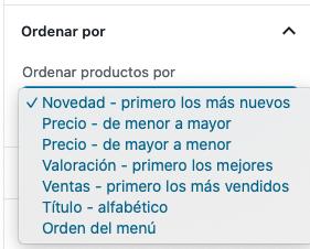 WooCommerce bloque productos en oferta ordenar por