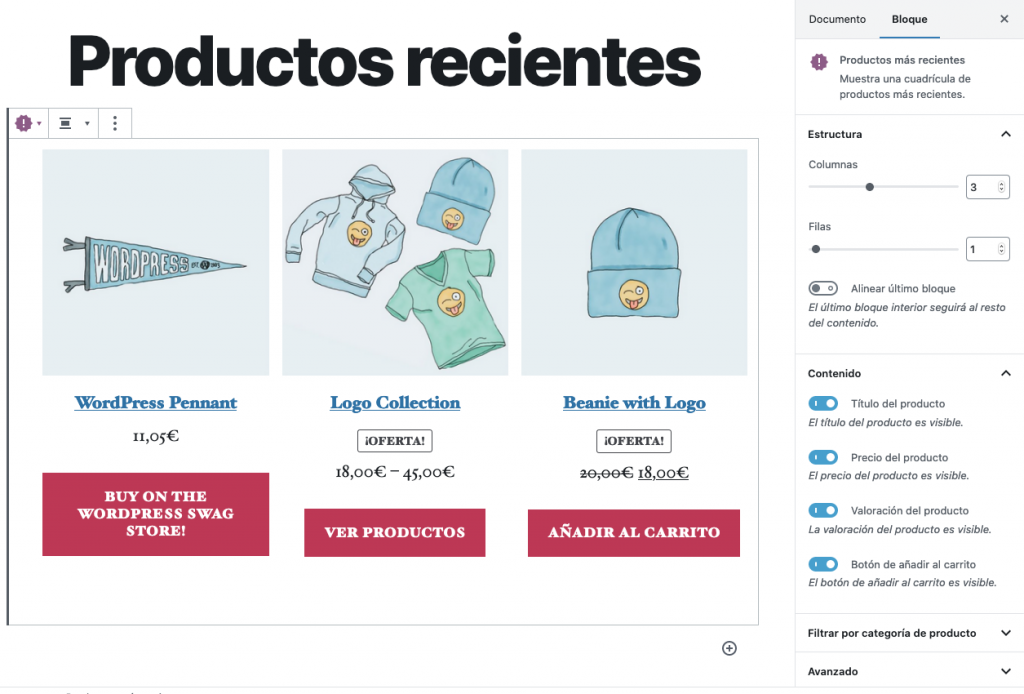 Bloque WooCommerce - Productos más recientes