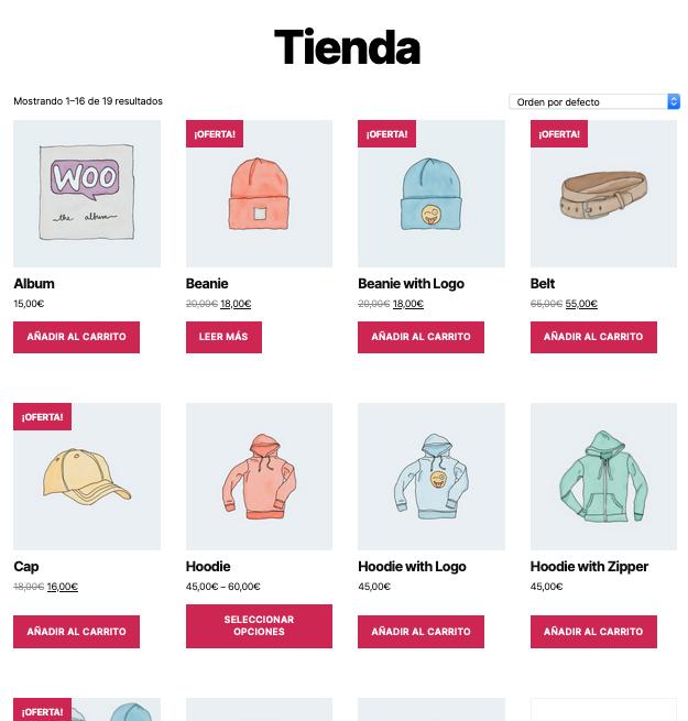 WooCommerce - Mostrar productos en tienda