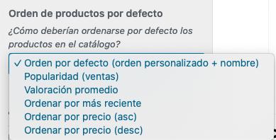 WooCommerce - Orden de productos por defecto
