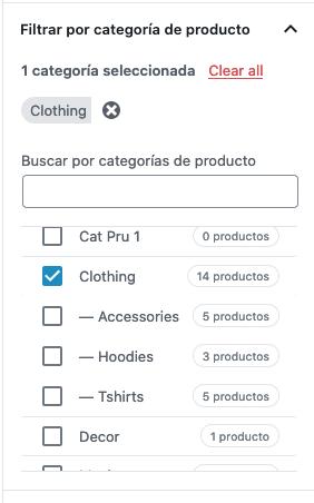 WooCommerce bloque productos en oferta filtar por categoría