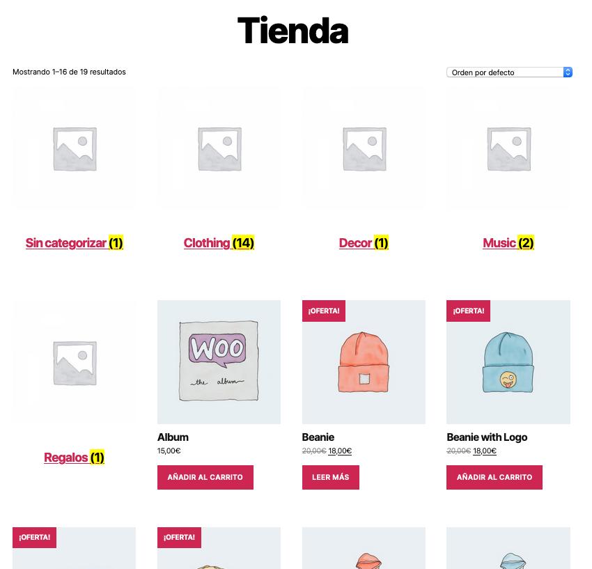 WooCommerce - Visualización de productos en tienda produtos y categorías