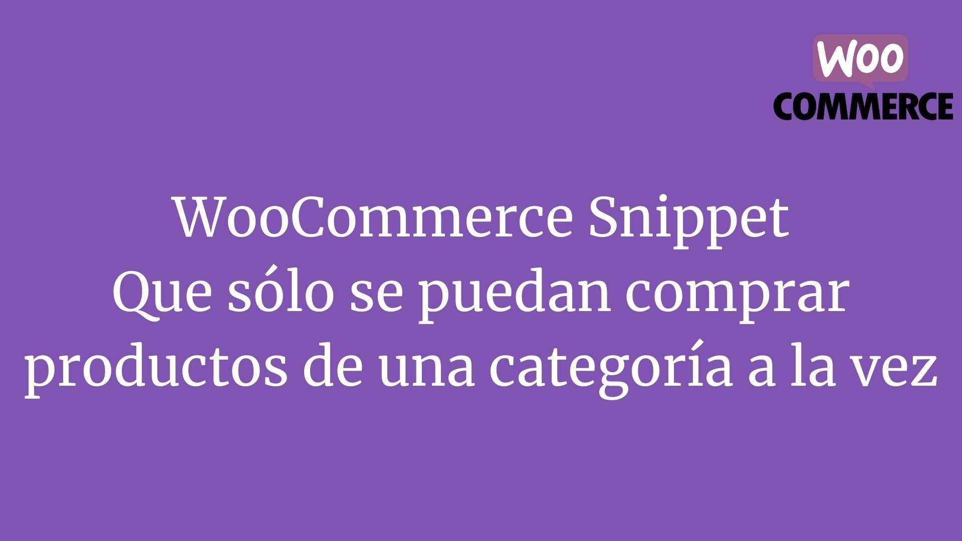 WooCommerce Snippet Que solo se puedan comprar productos de una categoria a la vez