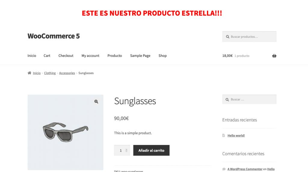 Mostrar anuncio en la cabecera de los productos o en productos en concreto